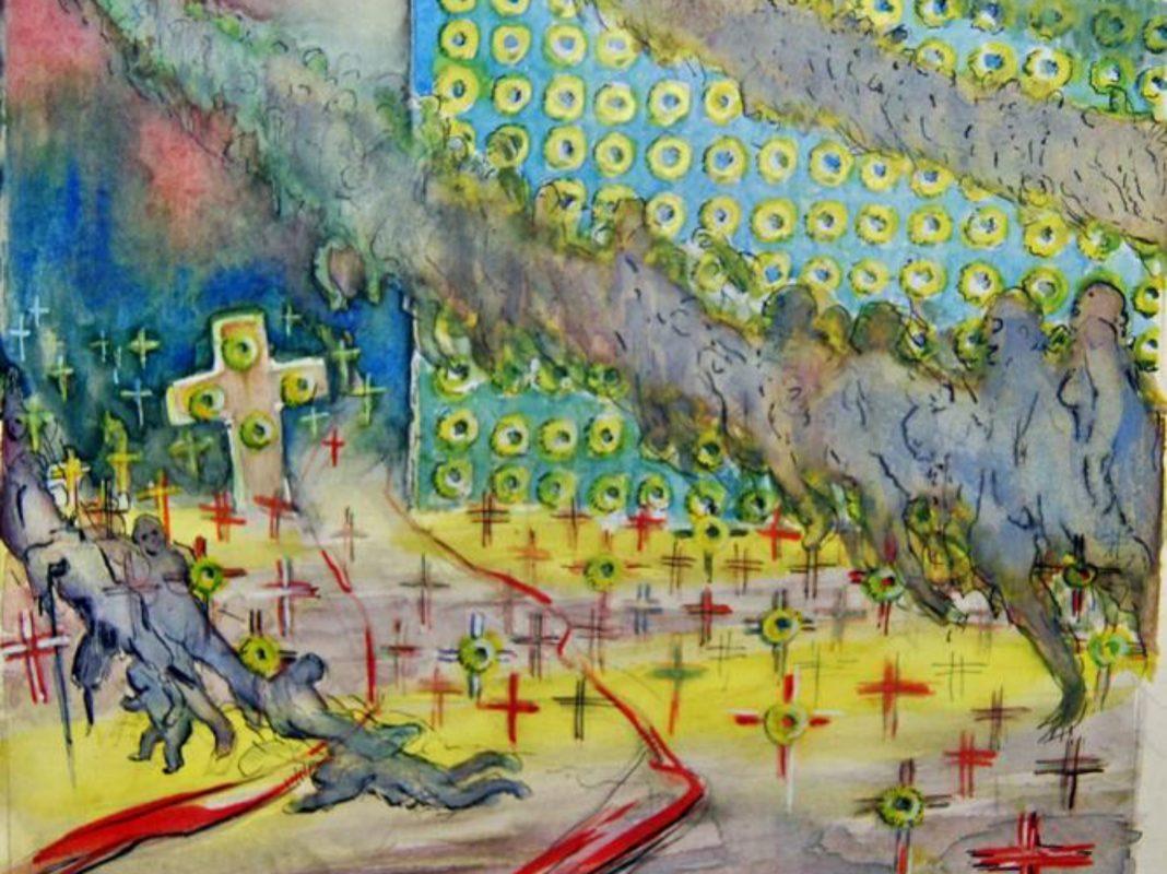 """Ein Ausschnitt des Kunstwerks """"Kriegsgräber"""" von Fried Heuler. Archiv: Willi Dürrnagel"""