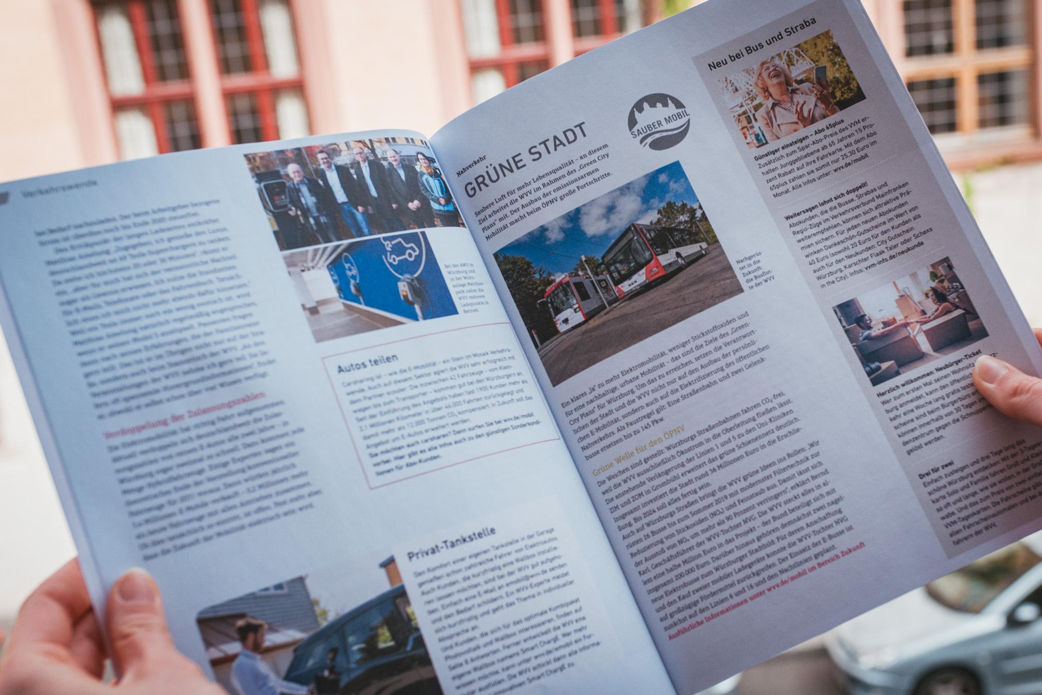Das WVV Magazin mit den neusten Thema rund um Energie, Verkehr und Umwelt. Foto: Pascal Höfig