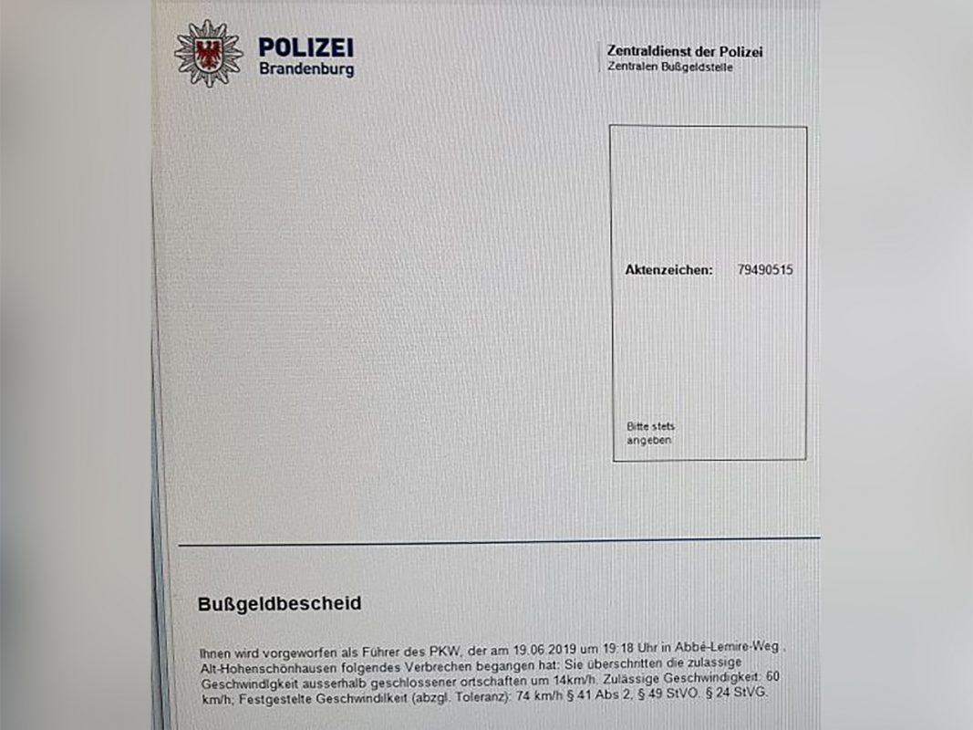 """Bei dem vermeintlichen Bußgeldbescheid handelt es sich um sogenannten """"Hoax"""". Foto: Polizei"""