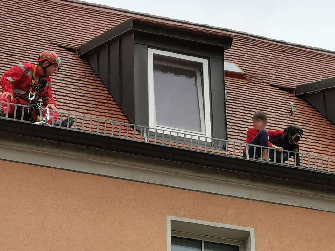 Der 12-Jährige kletterte hinterher, um den Rottweiler vor dem Absturz aus der dritten Etage zu retten. Foto: Polizei