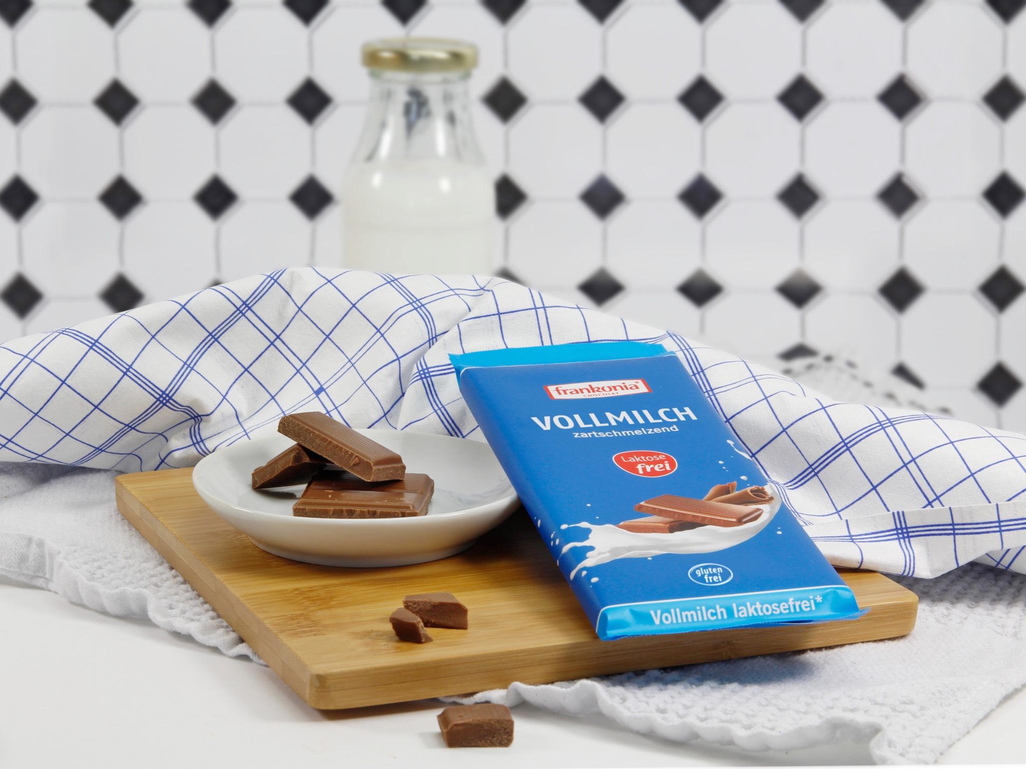 Laktosefreie Vollmilchschokolade. Foto: Frankonia Schokoladenwerke