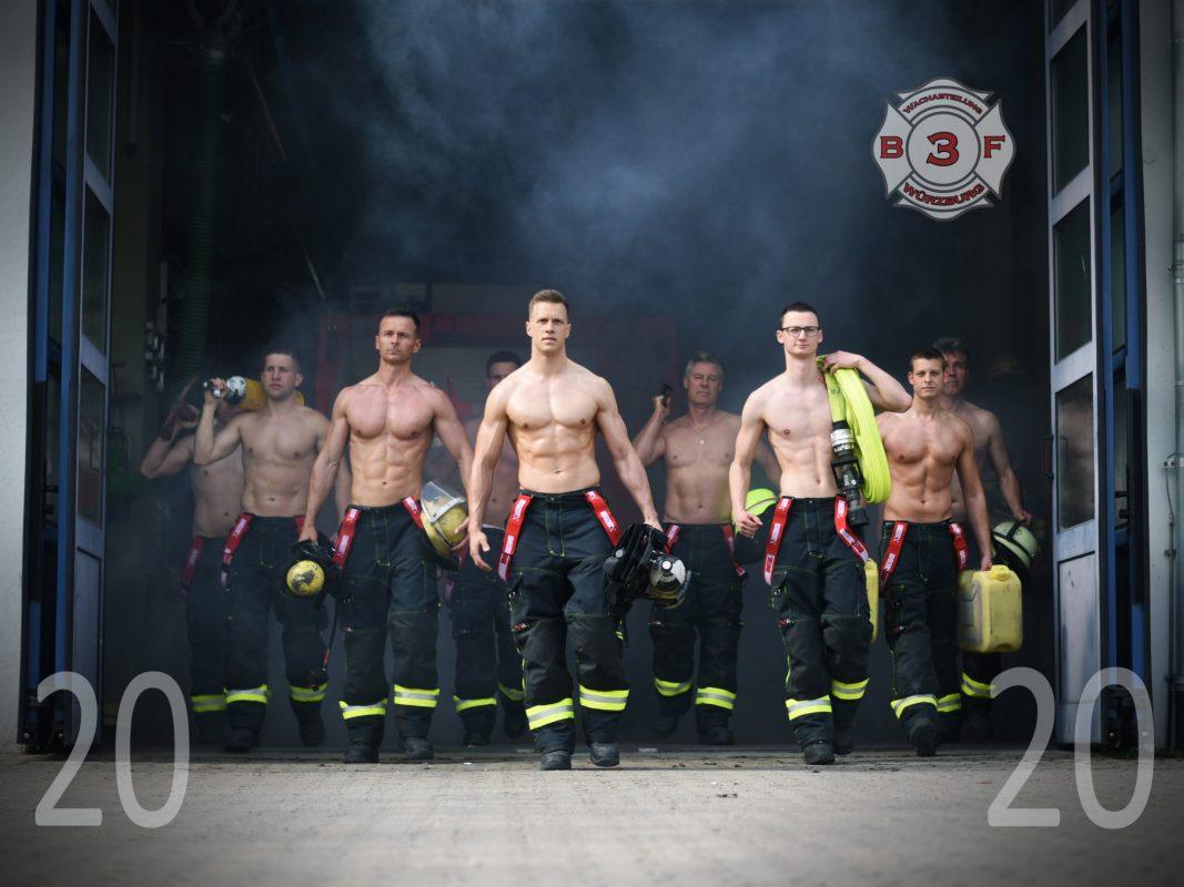 2020 wird mit den Jungs der Berufsfeuerwehr ganz schön heiß! Foto: Laura Schumacher Fotografie