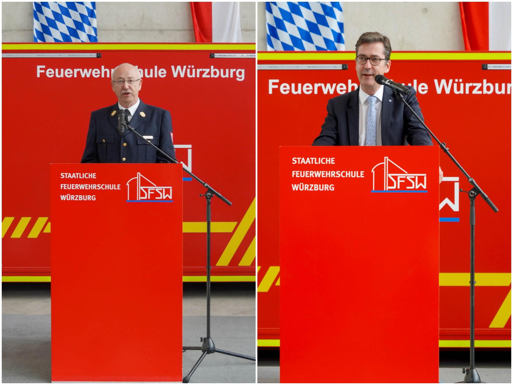 Dr. Roland Demke, Schulleiter der staatl. Feuerwehrschule, und OB Christian Schuchardt beim Spatenstich. Foto: Staatliche Feuerwehrschule Würzburg