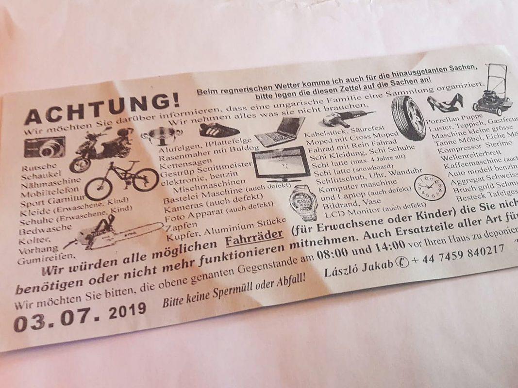 In verschiedenen Würzburger Stadtteilen wurden diese Zettel verteilt. Foto: B. Höfig