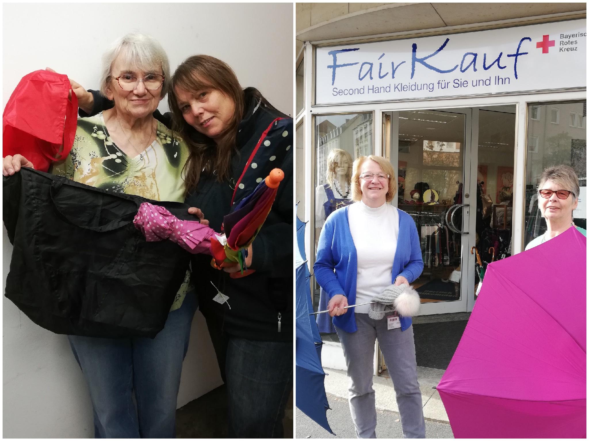 Elisabeth Staab und Erika Wedrich vom Luftschloss im linken Foto und Gabriele Tacke und Rosi Pischel vom Fairkauf Kleiderladen. Fotos: WVV