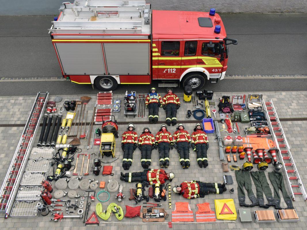 Die Freiwillige Feuerwehr Rottenbauer bei der #TetrisChallenge. Foto: C. Roth.