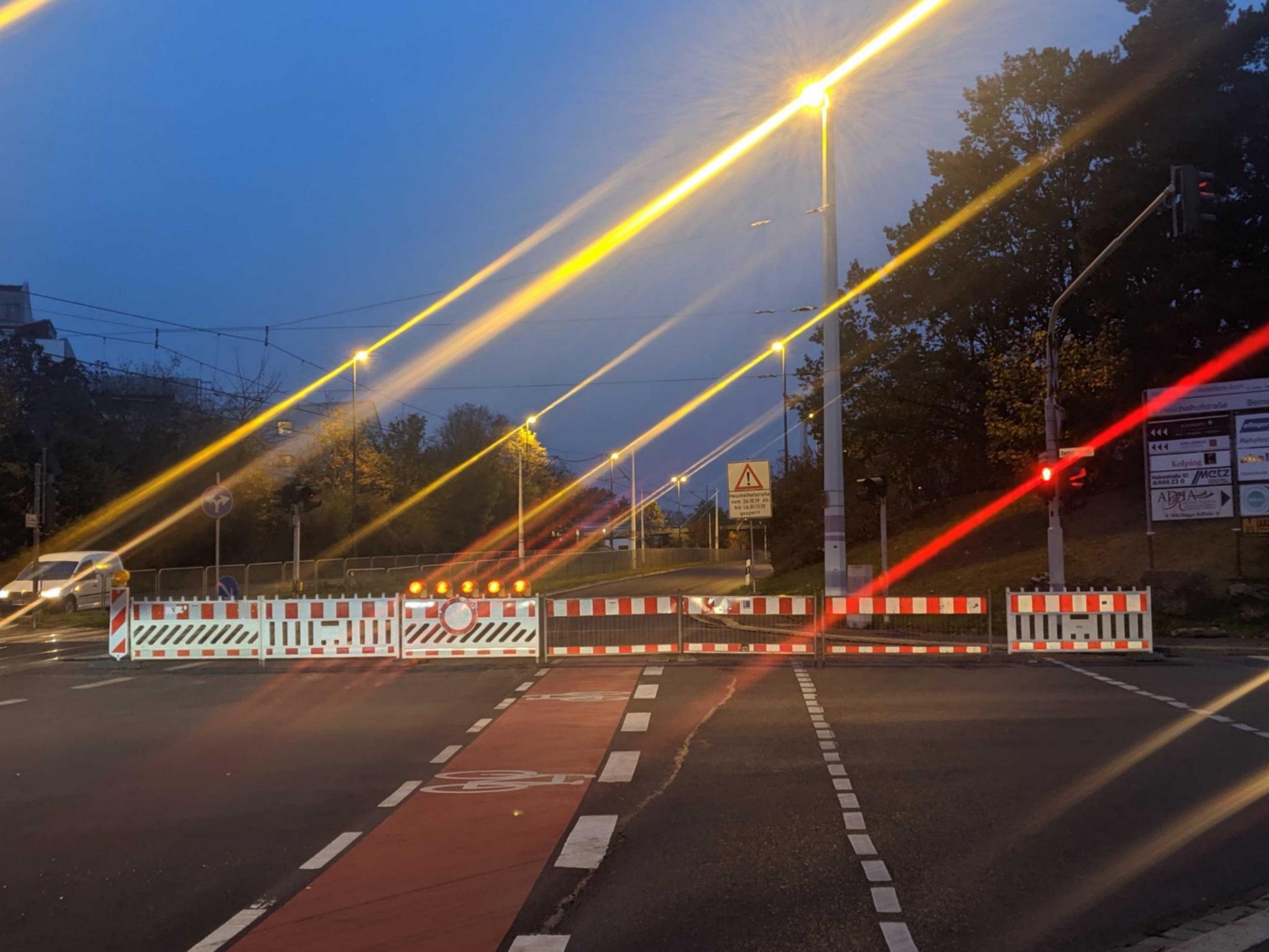 Sperrung der Heuchelhofstraße. Foto: CJP