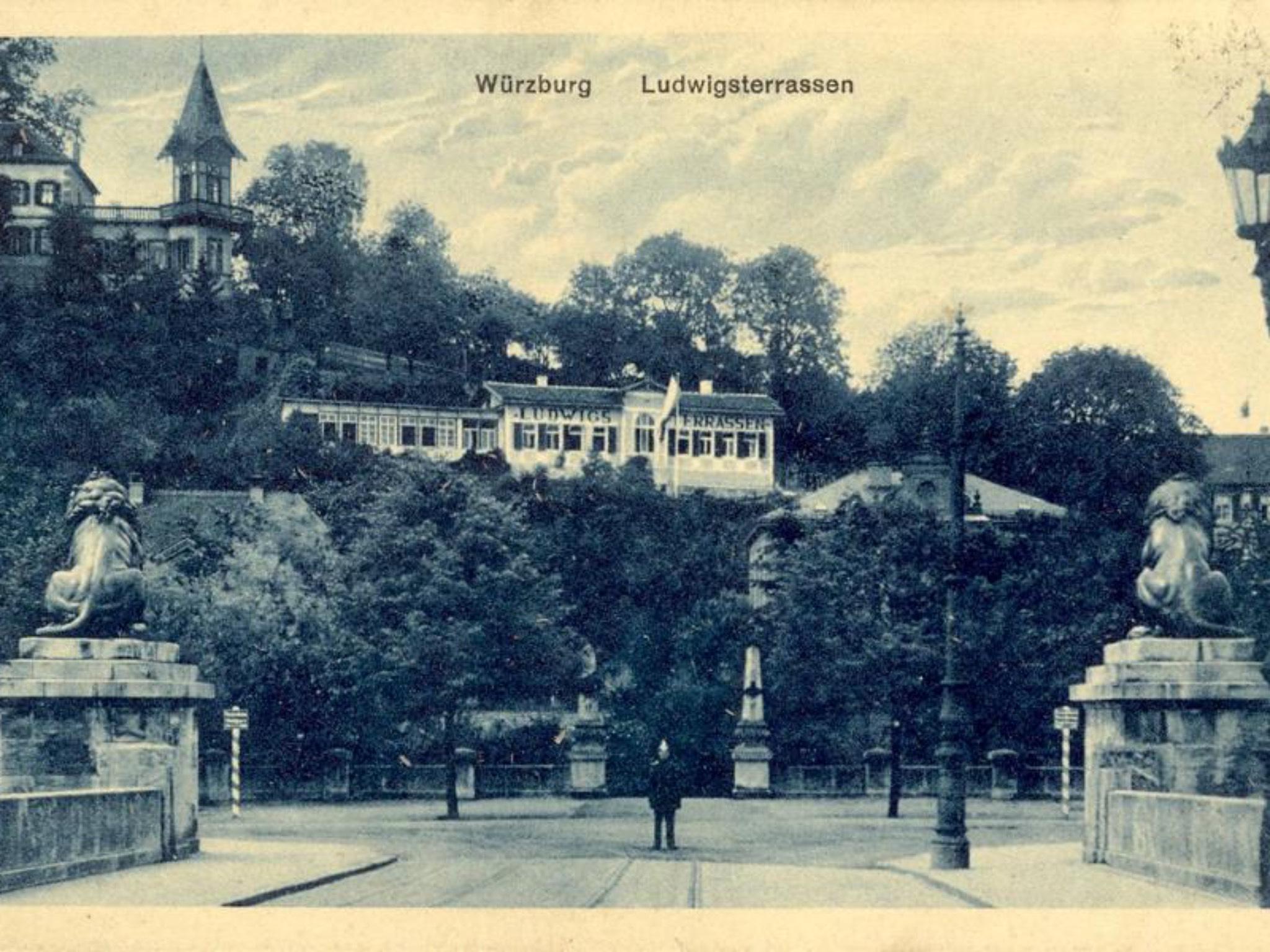In direkter Sichtachse zur Löwenbrücken befanden sich die Charlott- beziehungsweise Ludwigsterrassen. Archiv: Willi Dürrnagel