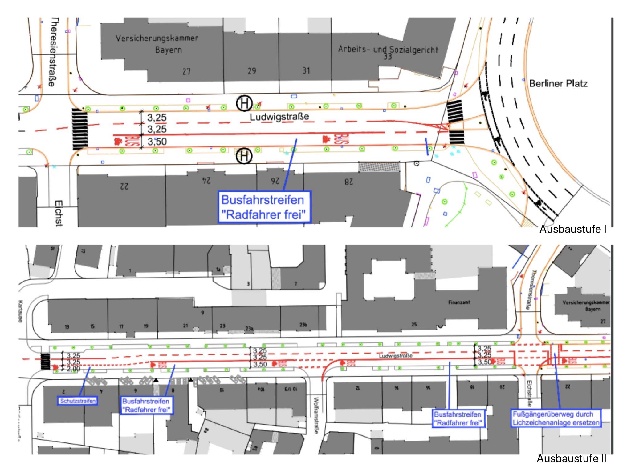 Geplanter Busfahrstreifen in der Ludwigstraße. Ausbaustufe I (oben) und Ausbaustufe II (unten). Grafik: Baureferat Stadt Würzburg: Fachbereich Bauen, Fachabteilung Tiefbau