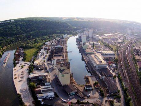 Luftbild vom Neuen Hafen in Würzburg. Foto: WVV