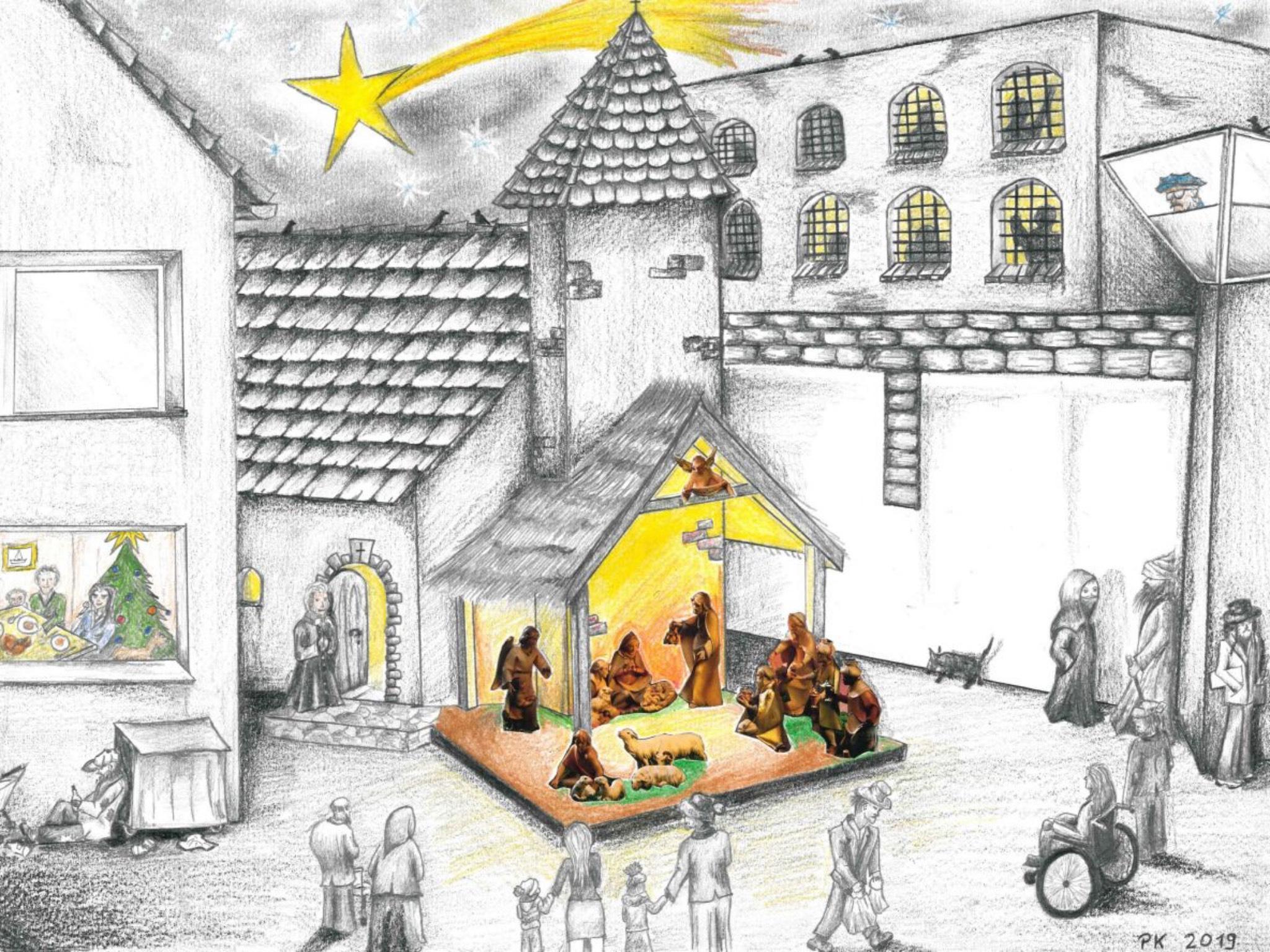 Diese Zeichnung bekam Bischof Jung von einem Häftling geschenkt. Foto: Markus Hauck/POW