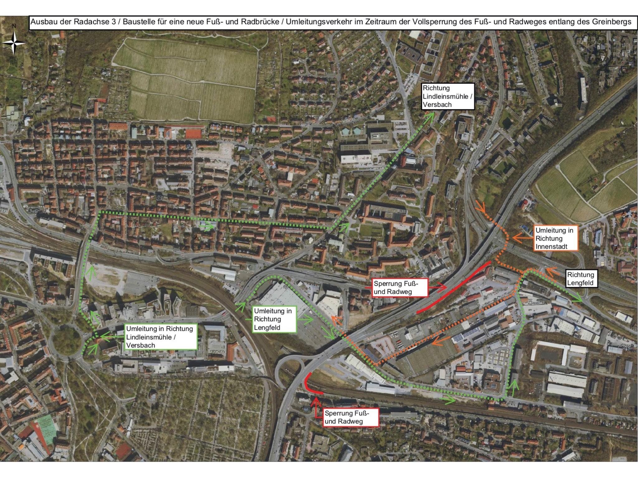 Der geplante Umleitungsverkehr. Grafik: Geoinformationssystem der Stadt Würzburg – Bearbeitung FA Tiefbau