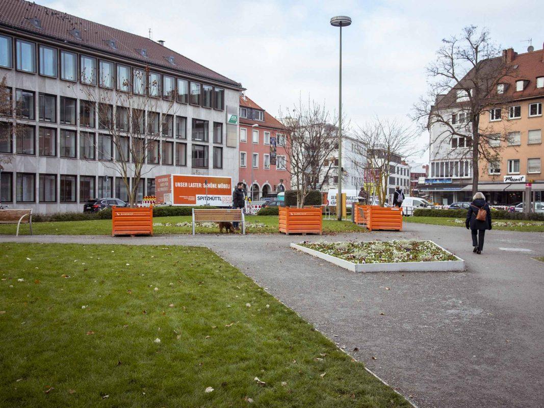 Der Kardinal-Faulhaber-Platz in Würzburg. Foto: Dominik Ziegler