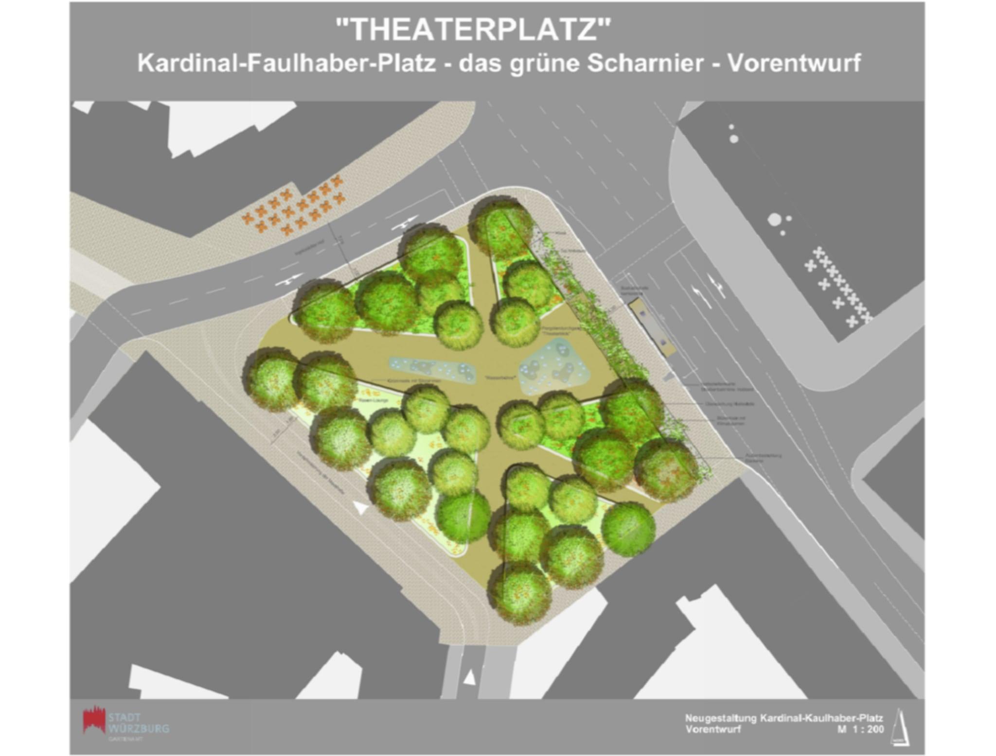 Entwurf des Garteamtes zur Gestaltung des Kardinal-Faulhaber-Platzes. Grafik: Gartenamt Stadt Würzburg
