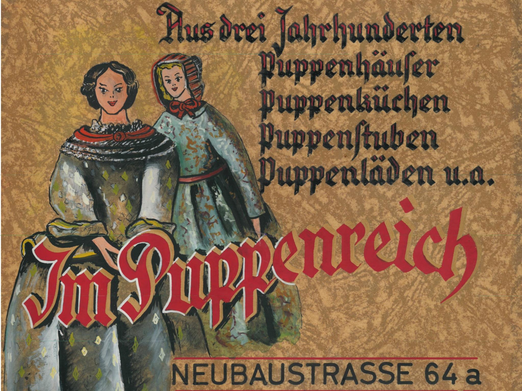 Handgemalter Aufsteller der Eröffnungsausstellung des Museums Lydia Bayer (Dez. 1962). Bild: Spielzeugmuseum Nürnberg, Nachlass Dr. Lydia Bayer