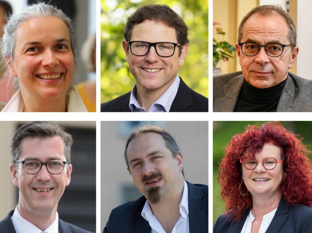 Die OB-Kandidaten in (von links oben nach rechts unten): Dagmar Dewald (ÖDP), Martin Heilig (Grüne), Volker Omert (FWG), Christian Schuchardt (CDU), Sebastian Roth (Linke), Kerstin Westphal (SPD). Foto: Grafik: MP