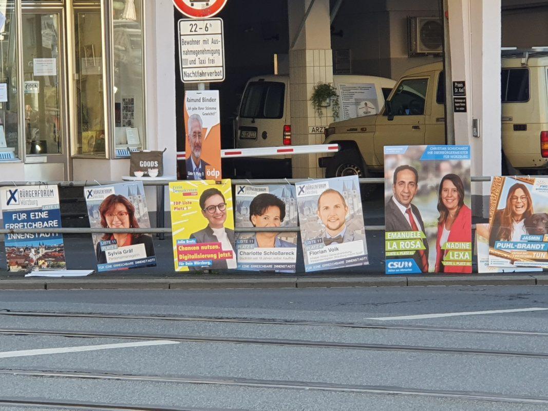 Wahlplakatierung in Würzburg. Foto: Laura Göpfert