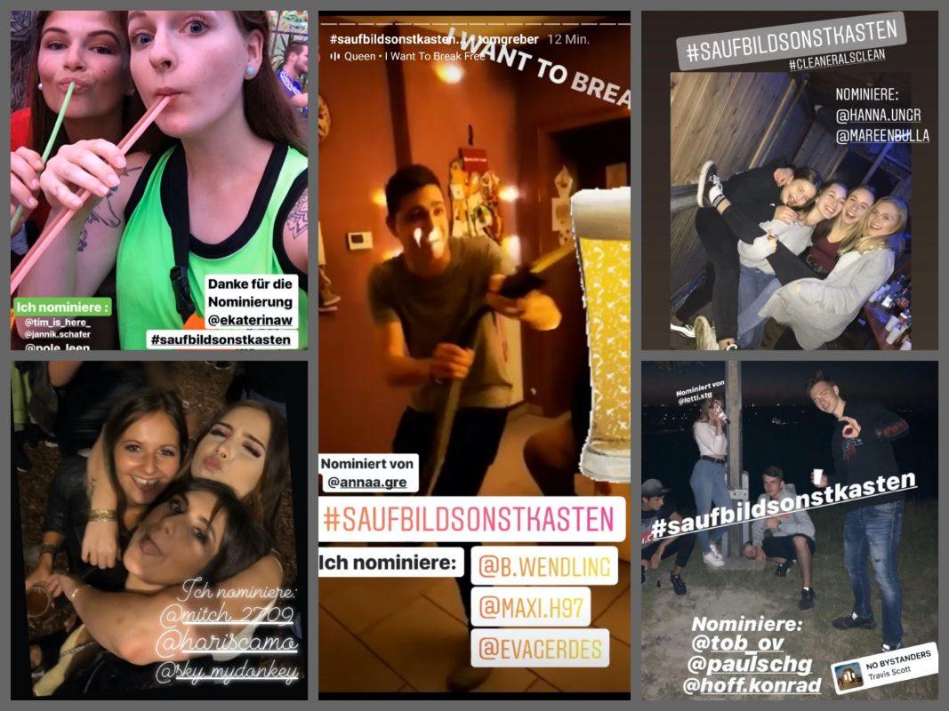 #saufbildsonstkasten Challenge Teilnehmer. Screenshot: Instagram
