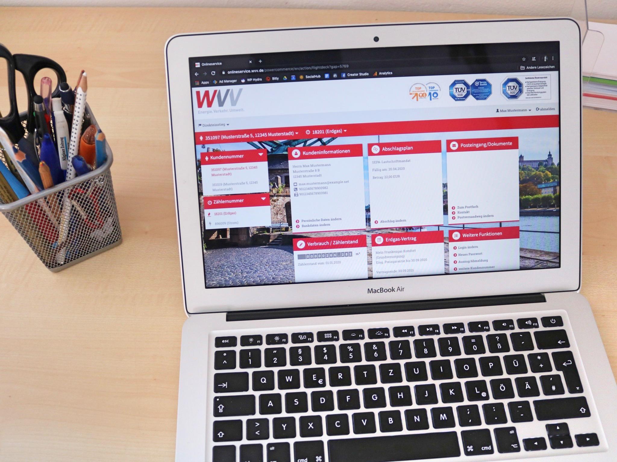 Der Onlineservice der WVV. Foto: Verena Hadraschek