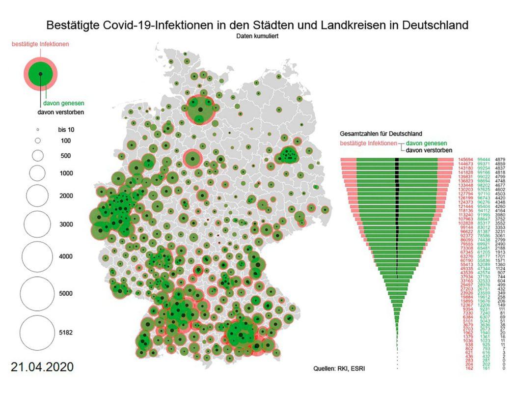 Grafik von COVID-19-Infektionen: Grafik © Thomas Gründemann, Institut für Kartographie, TU Dresden