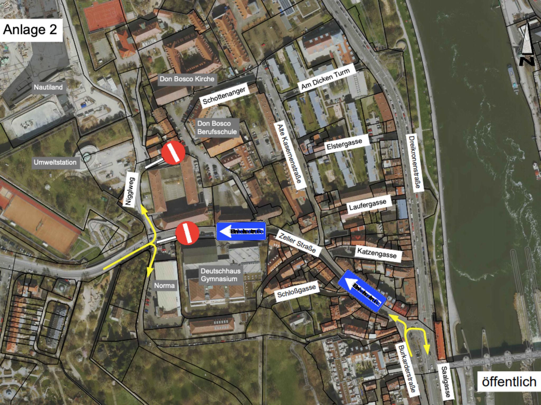 Die Zeller Straße soll bergauf zur Einbahnstraße werden. Grafik: Stadt Würzburg