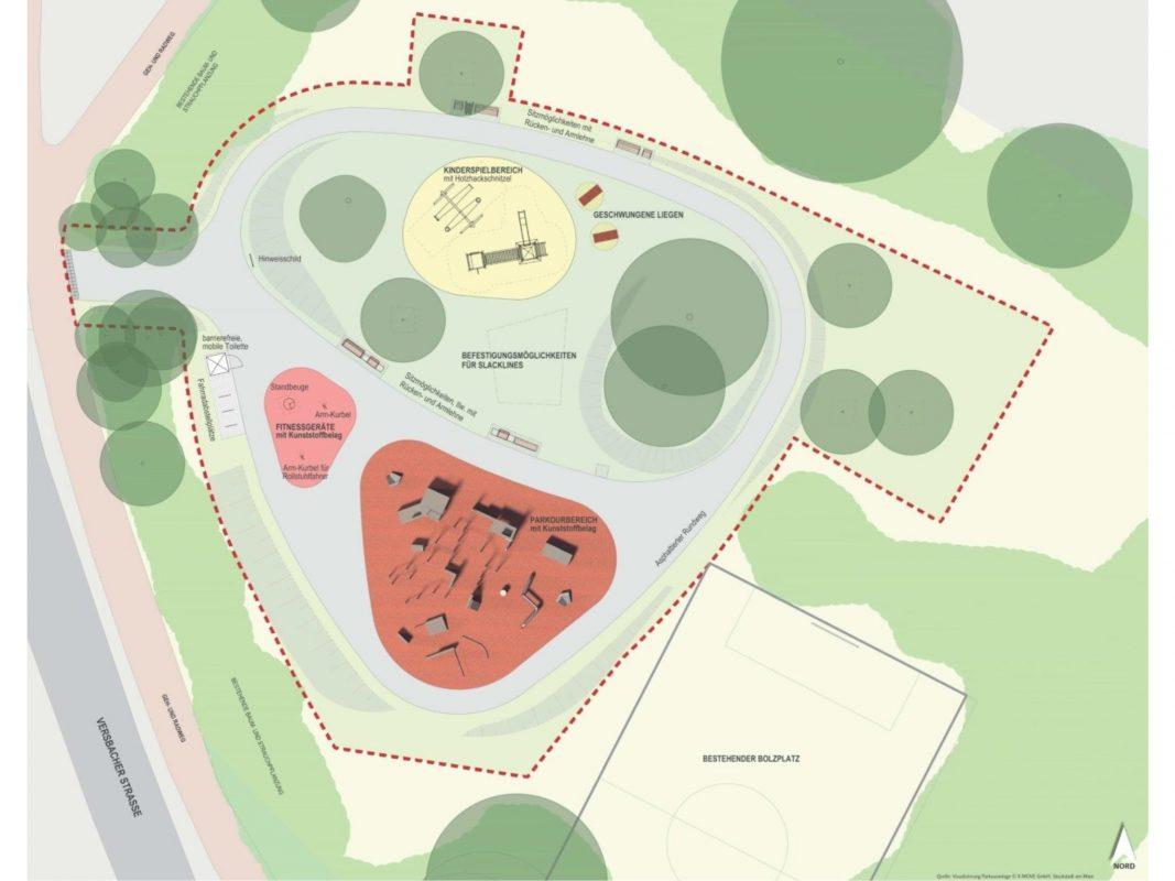 Visualisierung der neuen Grün- und Freizeitanlage. Grafik: X-Move GmbH