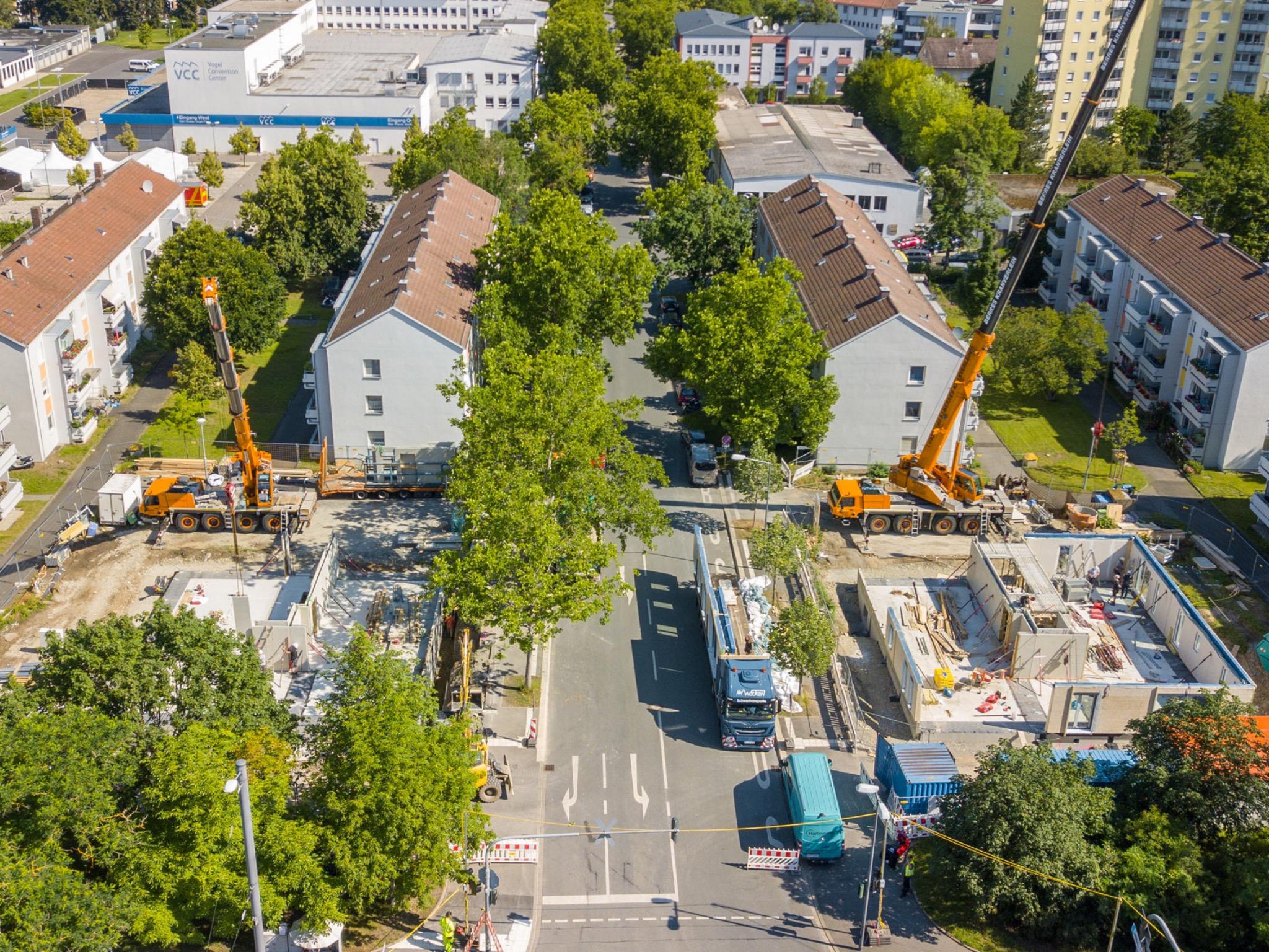 Die Fertigstellung der Holz-Hybridhäuser in der Zellerau soll 2021 erfolgen. Foto: xtrakt media Thomas Düchtel