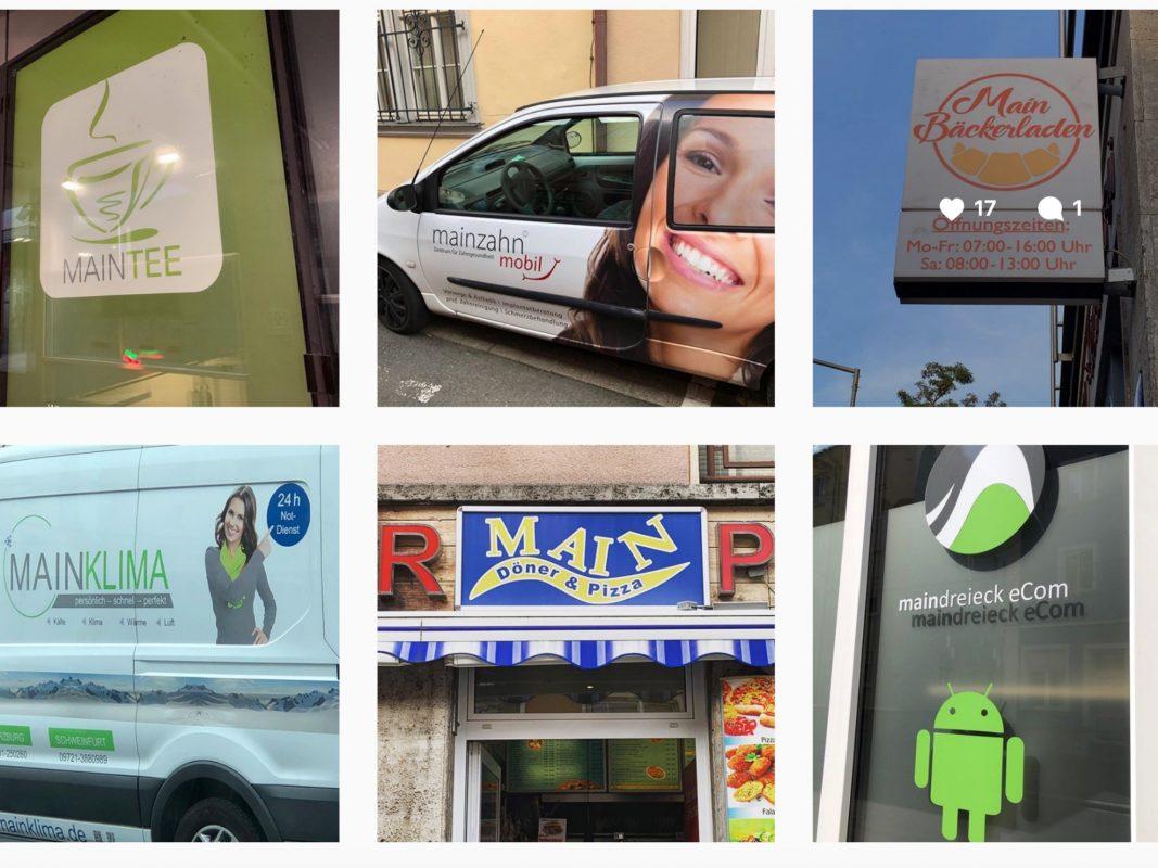 """Die Instagramseite """"nichtsomains"""" sammelt sämtliche Läden und Unternehmen, die den Main in Ihrem Namen tragen. Screenshot der IG-Seite."""