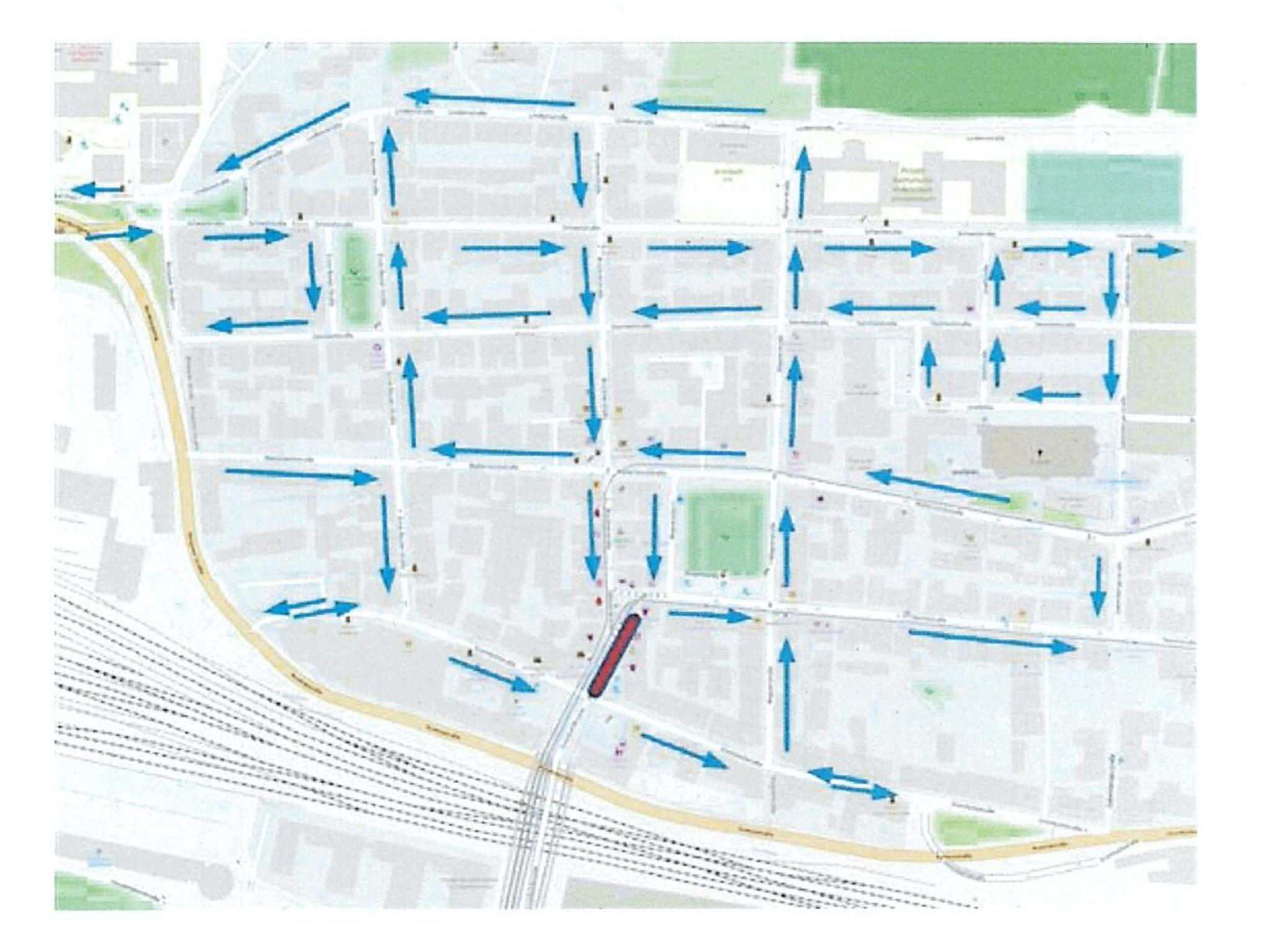 Mit einem Einbahnkonzept soll in Grombühl mehr Platz für Fußgänger und Radfahrer entstehen. Grafik: Stadtratsfraktion Bündnis 90/ Die Grünen Würzburg