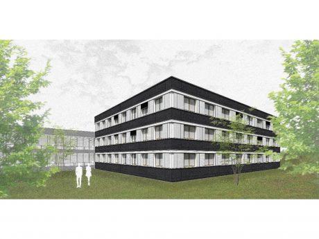 So soll die Fassade nach der Sanierung aussehen. Die Bürotrakte des Philosophiegebäudes sind dann von einer hochdämmenden, etwa 35 Zentimeter starken Hülle umgeben. Foto: Werner Sobek, Frankfurt