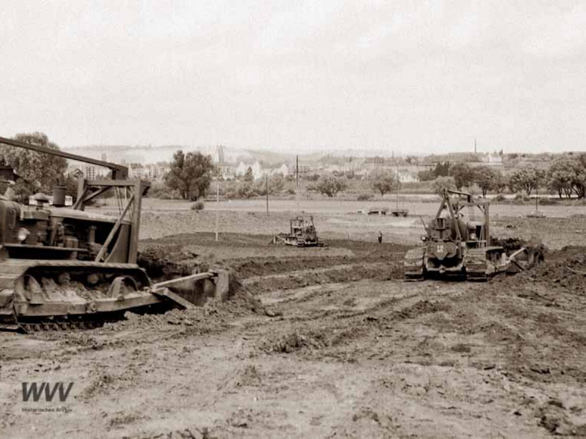 Der Bau des Dallenbergbades im Jahr 1955. Foto: Historisches Archiv der WVV.