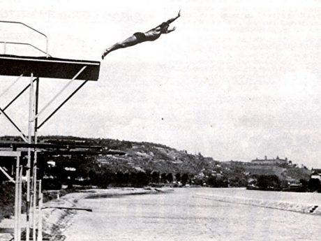 Das Riedinsel-Schwimmbad in Würzburg mit verschiedenen Sprungtürmen. Archiv: Willi Dürrnagel.