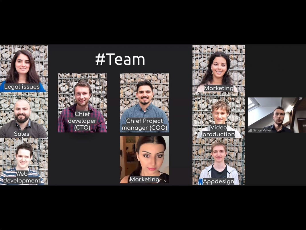 """Das Team der App """"Clye"""" stellt sich vor. Screenshot FHWS / Bolza- Schünemann"""