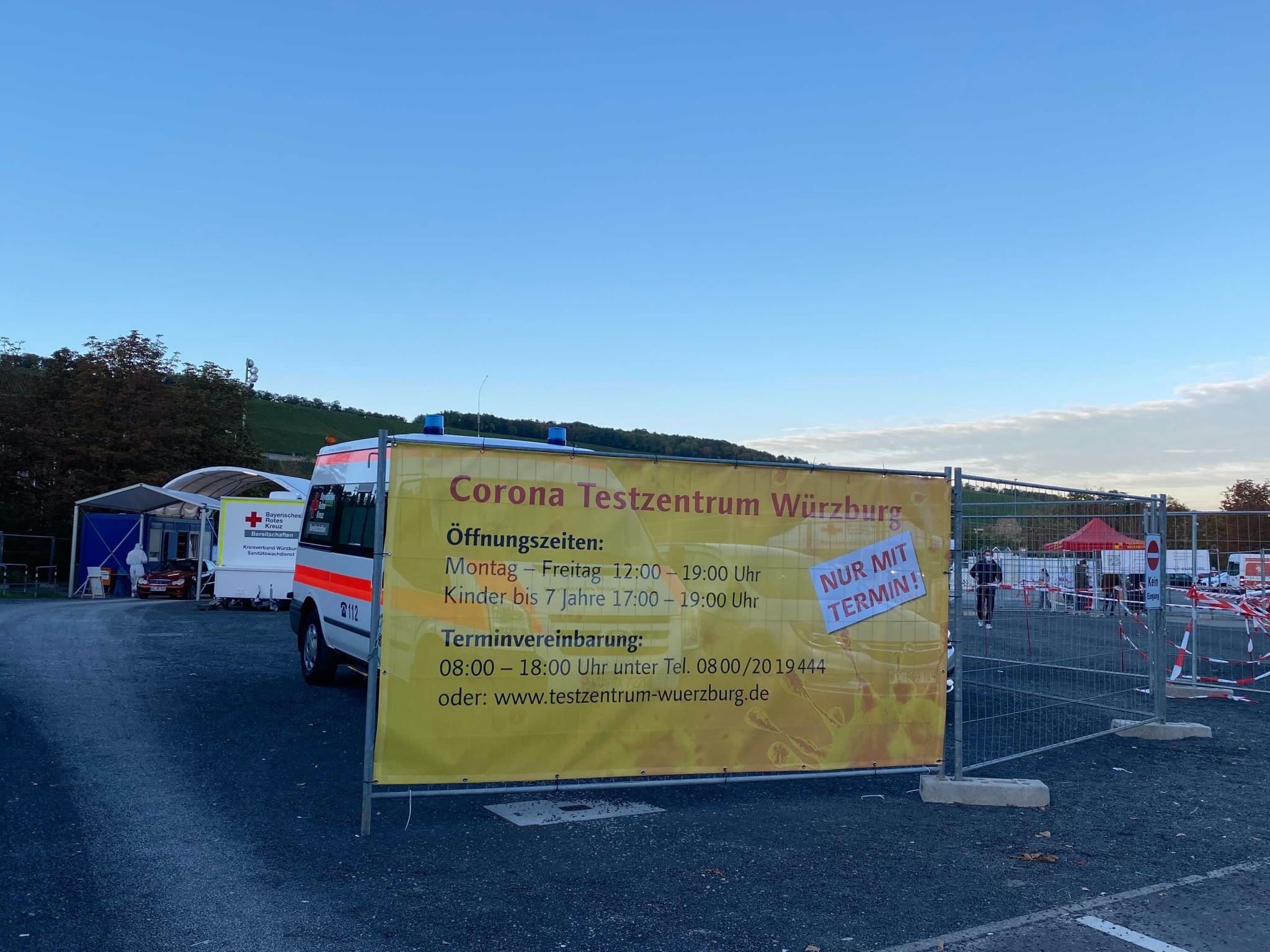 Das Corona Testzentrum auf der Talavera Würzburg. Foto: Jessica Hänse