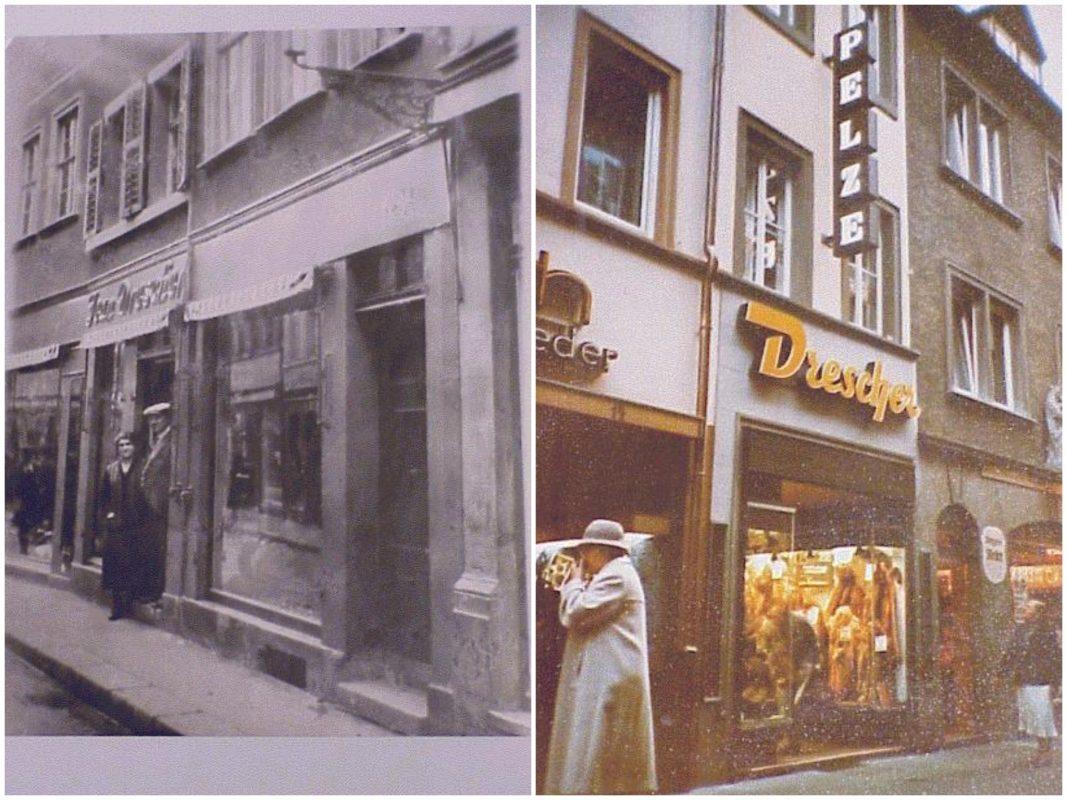 Ein Bild aus längst vergangenen Zeiten: die Großeltern des heutigen Inhabers Grete und Otto Drescher ca. 1925 vor ihrem Laden in Schweinfurt (links). | Das damals noch kleine Geschäft 1982 in der Würzburger Schustergasse 12. Fotos: Drescher