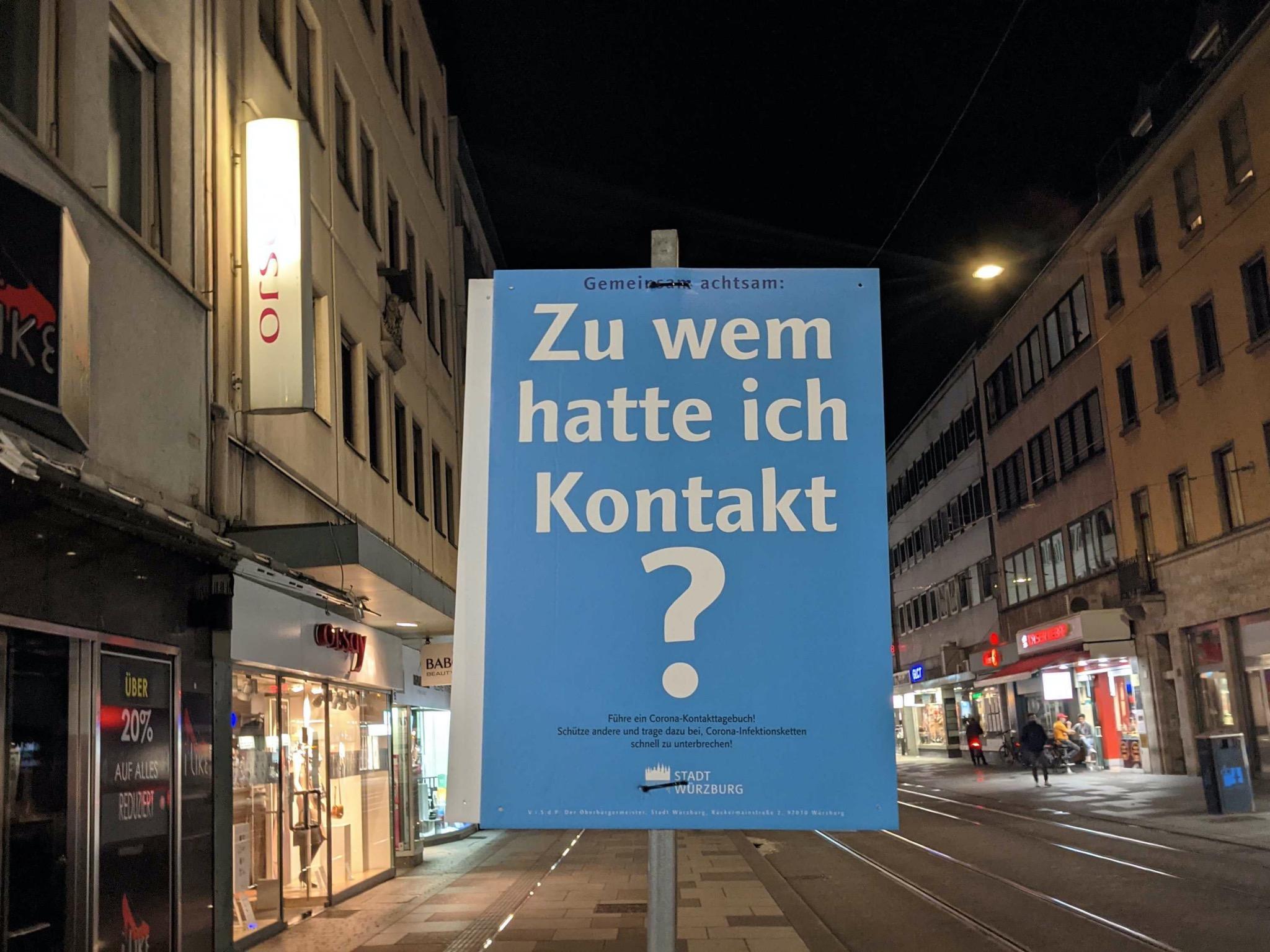 """Stadt Würzburg empfiehlt: """"Führe ein Kontakttagebuch."""" Foto: Christian J. Papay"""