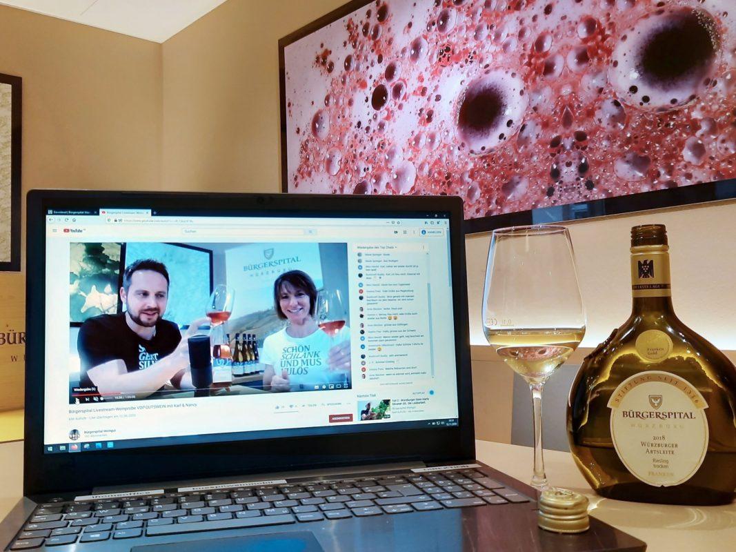 Auf dem YouTube-Kanal vom Bürgerspital gibt es kostenfreie Online-Weinproben zum Mitmachen! Foto: Bürgerspital Weingut