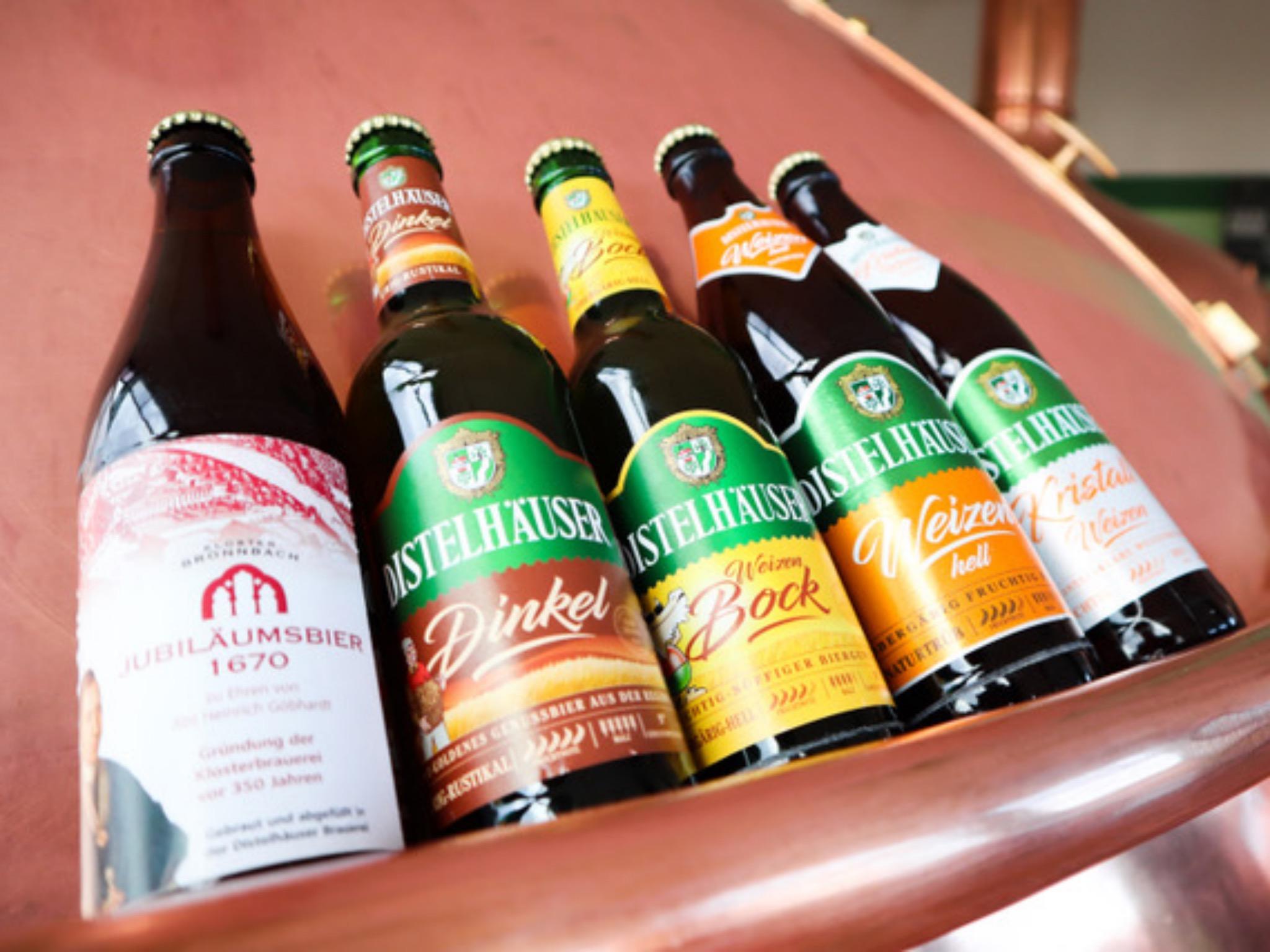 """Die fünf ausgezeichneten Biere des Qualitätswettbewerbs """"European Beer Star""""! Foto: Distelhäuser Brauerei"""