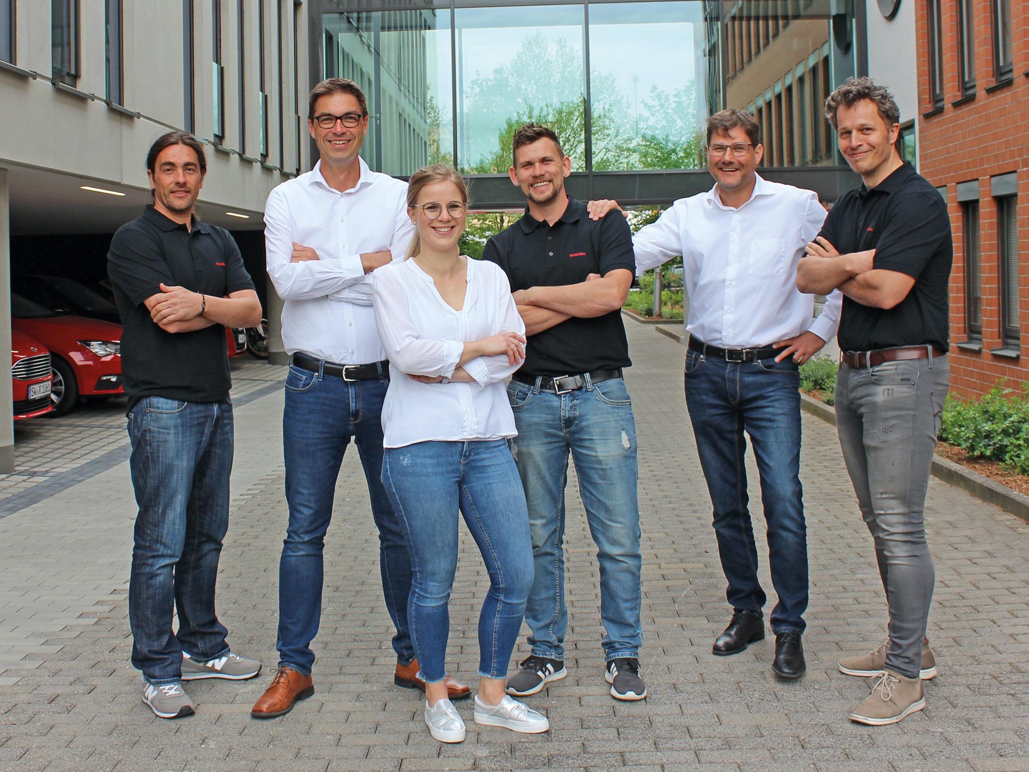 Das Ausbildungsteam von Riedel Bau (von links): Matthias Schlechter, Matthias Garbe, Antonia Waider, Marcel Keller, Martin Schlereth und Mark Bunge. Foto: Riedel Bau