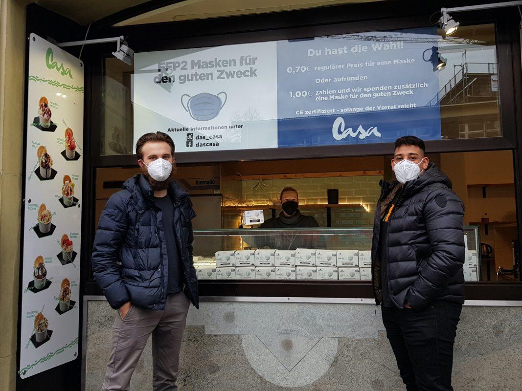 """Eine Anlaufstelle für Masken ist das """"Café Casa"""". Foto: Belz GmbH"""