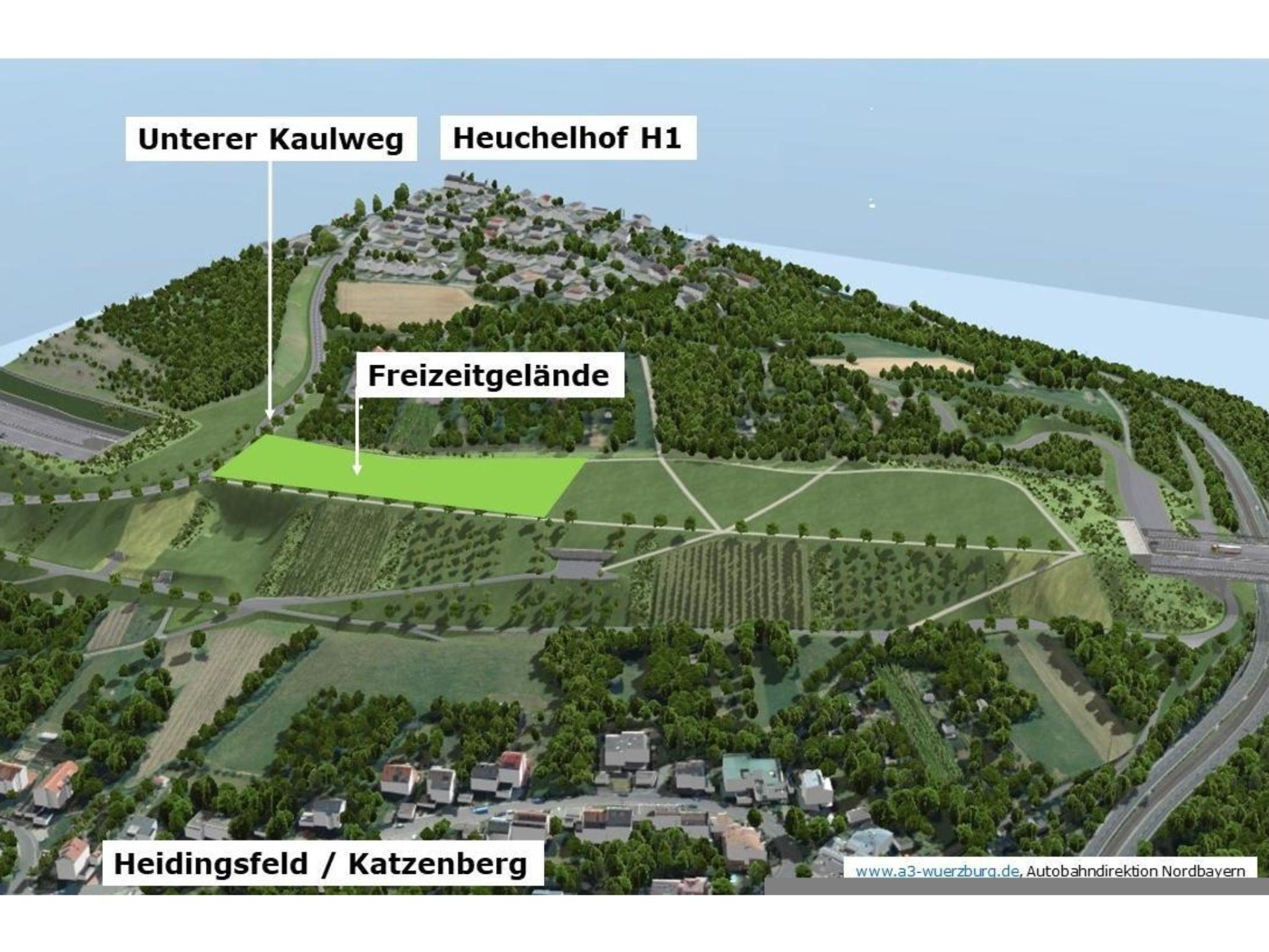 Lage des neuen Freizeitgeländes auf dem begrünten Katzenbergtunnel. Visualisierung: Autobahndirektion Nordbayern, www.a3-wuerzburg.de
