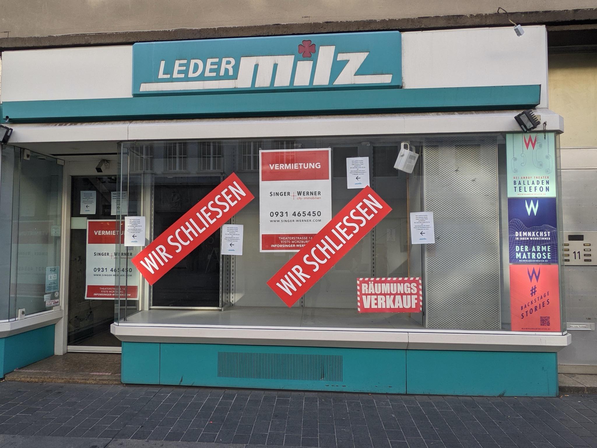 Leder Milz in der Kaiserstraße hat geschlossen. Foto: Würzburg erleben