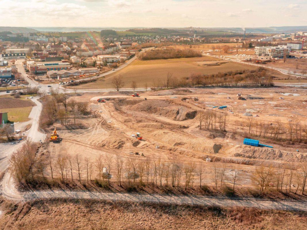 Das Grundstück des Bauabschnitts V von oben. Der im Bild vordere Bereich gehört nun den Genossenschaften St. Bruno-Werk und Heimathilfe sowie der Kronprinz-Rupprecht-von-Bayern-Stiftung. Foto: xtrakt media Thomas Düchtel