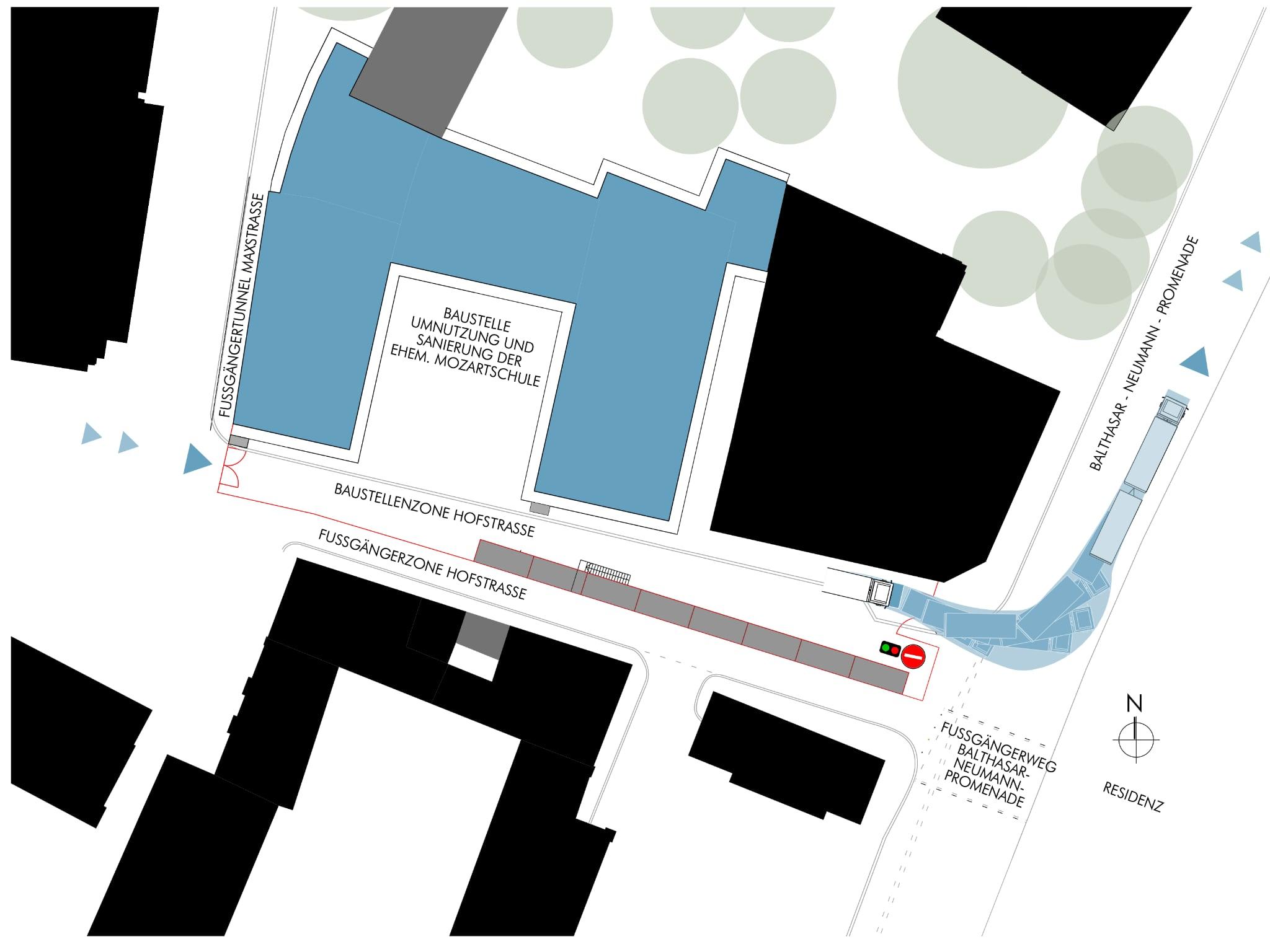 Die Baustellenabwicklung zum MOZ. Grafik: Fachbereich Hochbau/ Stadt Würzburg