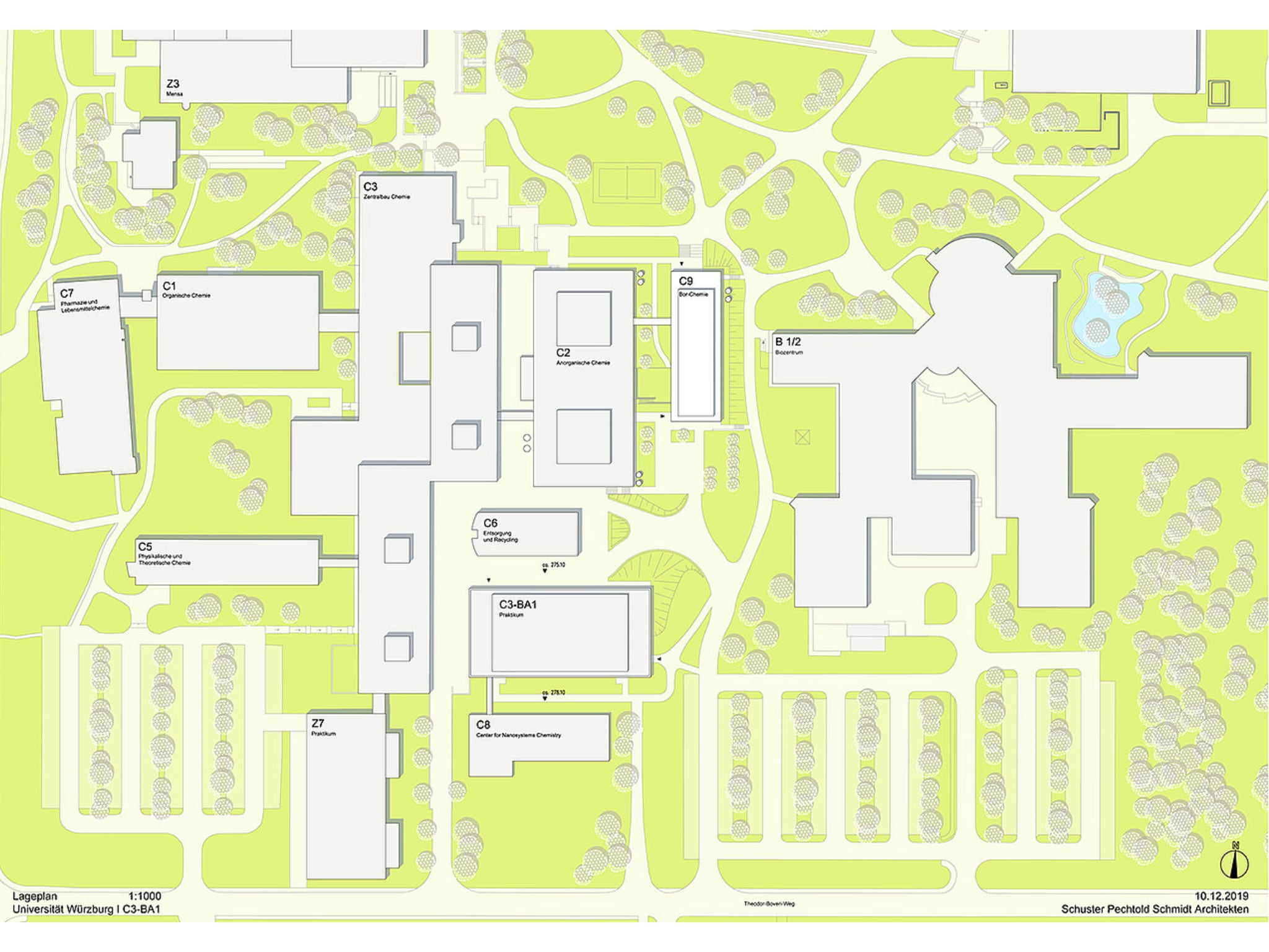Das Chemiezentrum (links) auf dem Hubland-Campus: Der Block C3-BA1 ist das neue Praktikumsgebäude, der langgestreckte C3-Komplex ist der Zentralbau, der die Institute verbindet. (Bild: Schuster Pechtold Schmidt Architekten)