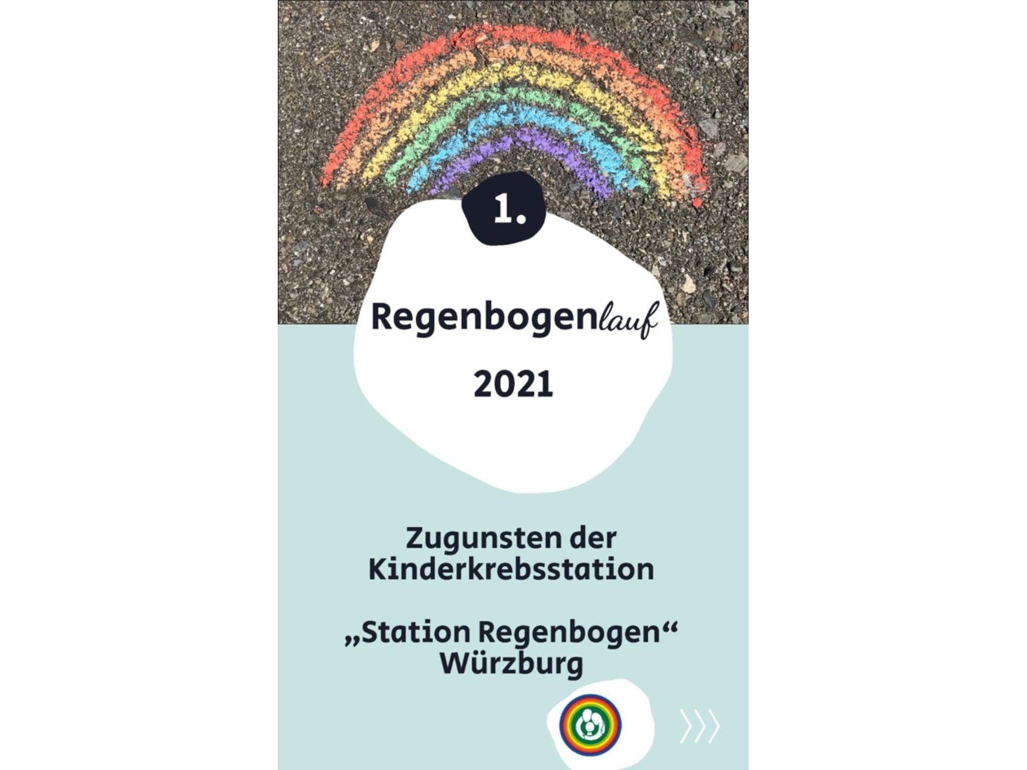 Würzburgs 1. Regenbogenlauf. Grafik: Station Regenbogen
