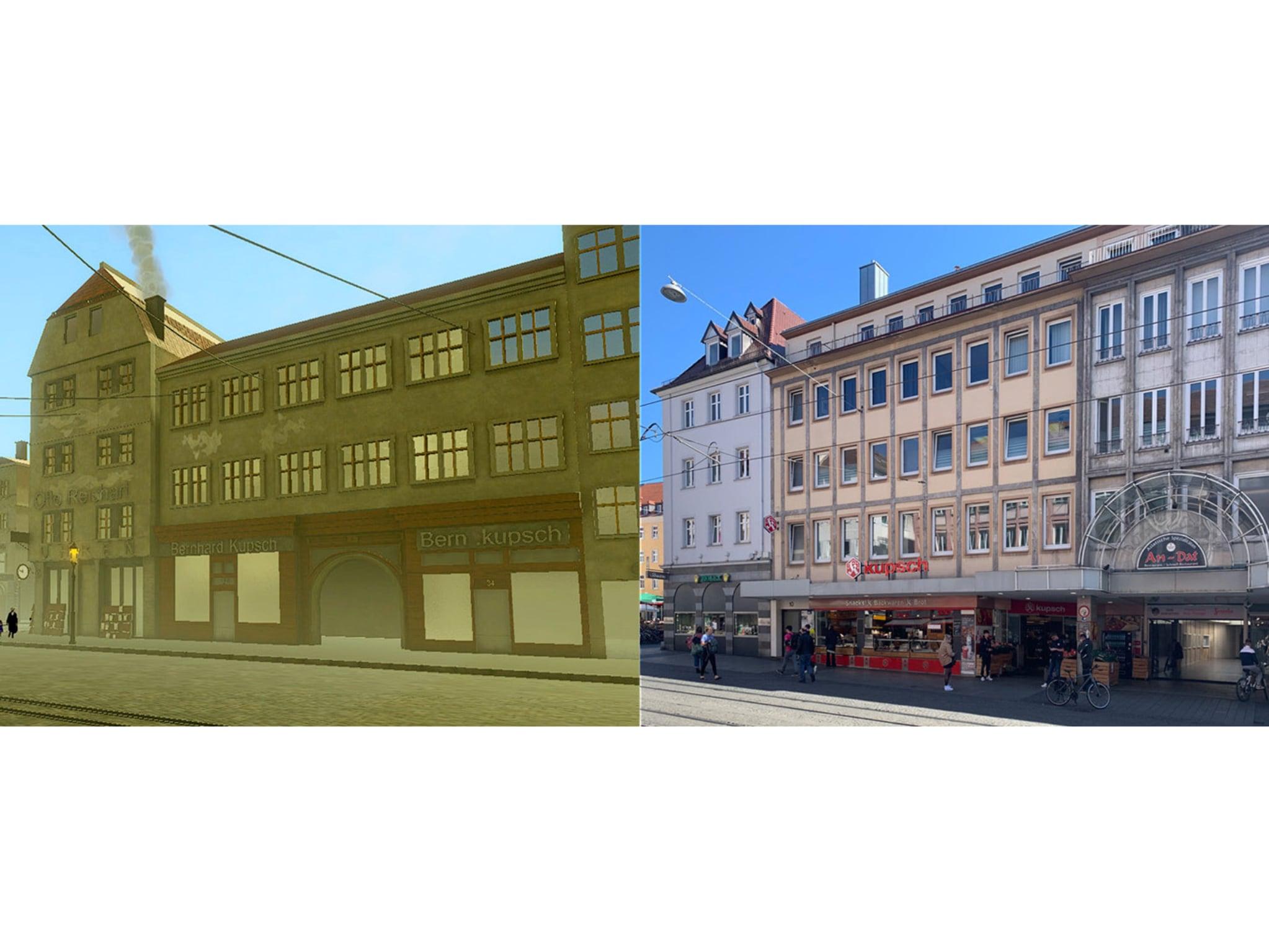 Der Vergleich eines Gebäudekomplexes in der Domstraße vor der Zerstörung und heute. Foto: Robert Schmidt
