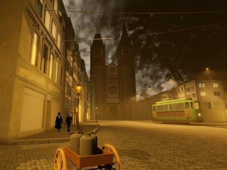 Die Domstraße vor der Zerstörung - dargestellt durch VR. Foto: Robert Schmidt