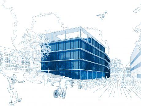 Visualisierung HIRI-Neubau. Foto: doranth post architekten GmbH