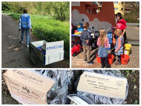 Die Initiatoren von Maincleanup und Clean Up Würzburg sammeln ehrenamtlich Müll und zeigen den Kleinen, wo welcher Müll hingehört. Foto: Robert Bausenwein, Claudia Görde